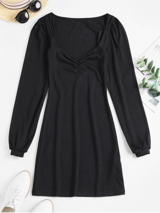 羅紋甜心領長袖連衣裙 - 黑色 L