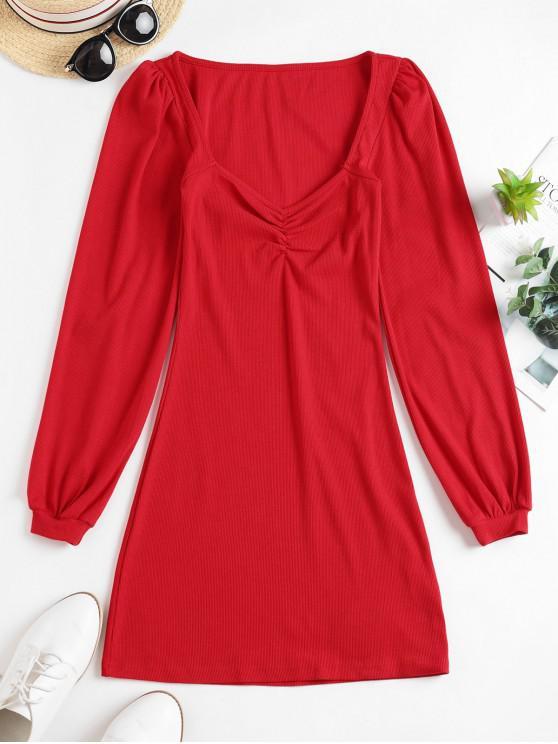 Pețiol Iubito gât lung Sleeve Dress - roșu S