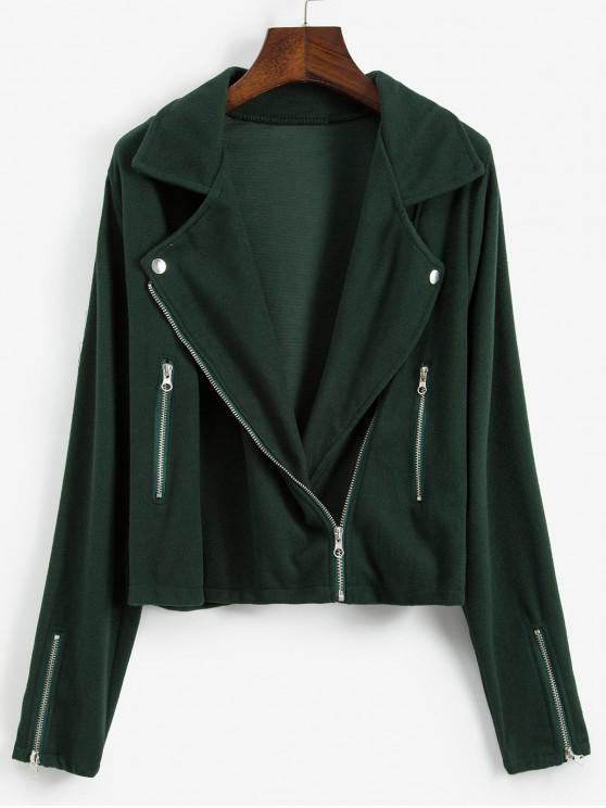Zip Detaliu Fleece Turndown Guler Jacheta - Deep Green XL