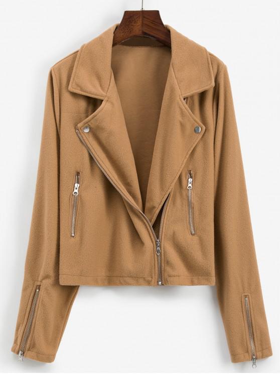 chic Zip Detail Fleece Turndown Collar Jacket - BROWN L