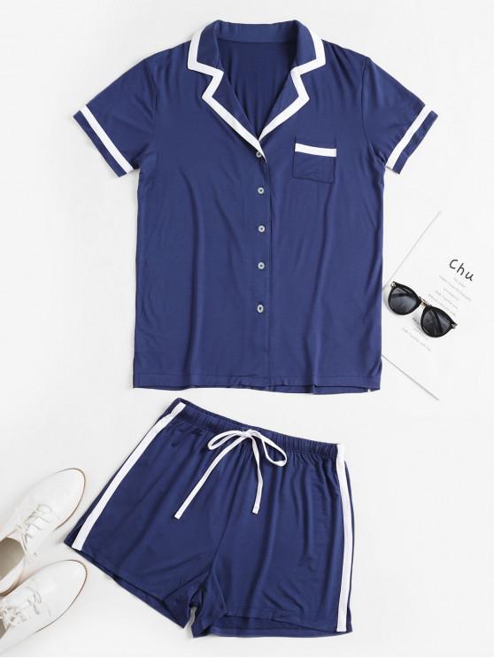 unique Lapel Pocket Button Up Slit Drawstring Shorts Set - DEEP BLUE M