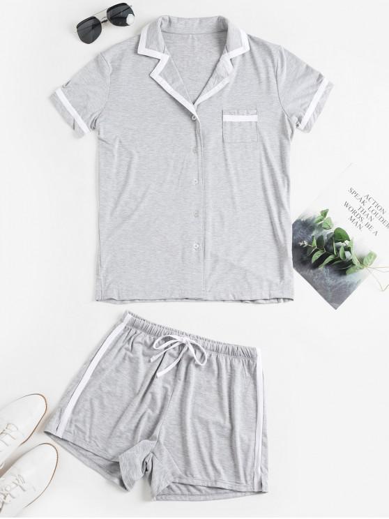 unique Lapel Pocket Button Up Slit Drawstring Shorts Set - GRAY M