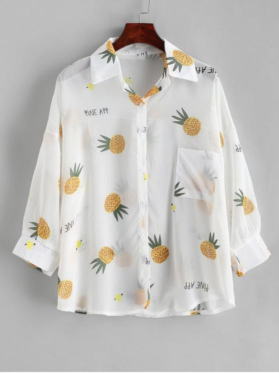 affordable Button Down See Thru Pineapple Cover Up Top - WHITE ONE SIZE