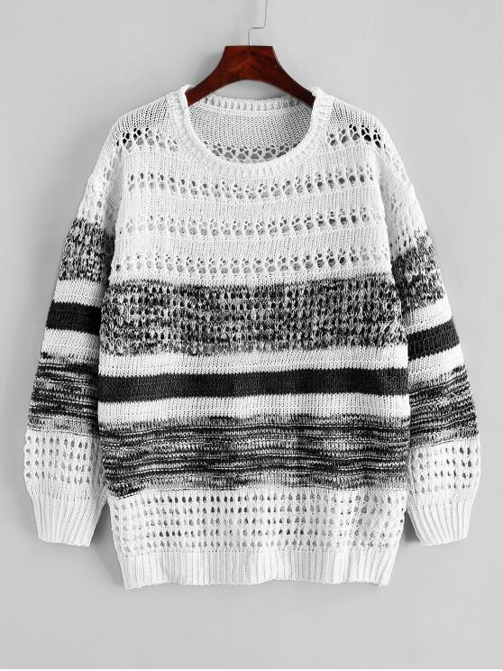 sale Contrast Open Knit Crew Neck Sweater - BLACK 2XL