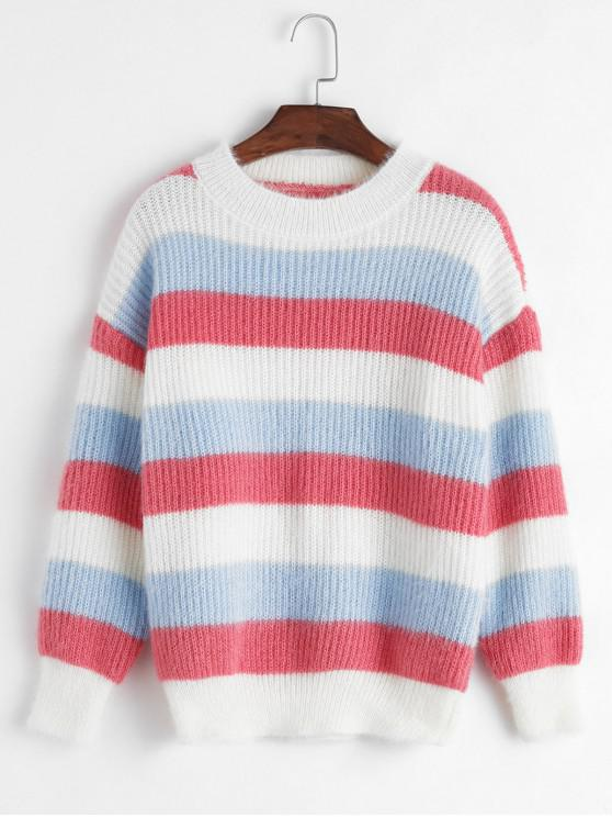 Crew Neck colorblock Stripes Pulover Fuzzy - Multi-A O marime