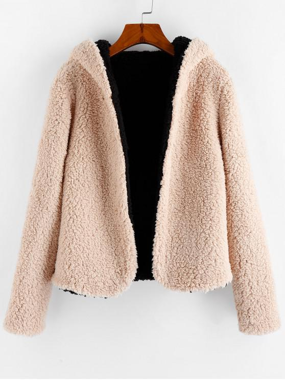 buy ZAFUL x Alexis Ricecakes Hooded Reversible Teddy Coat - APRICOT L
