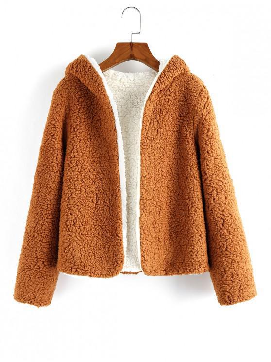 ladies ZAFUL x Alexis Ricecakes Hooded Reversible Teddy Coat - TIGER ORANGE L