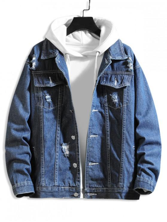 shops Solid Color Ripped Decorated Denim Jacket - DEEP BLUE 4XL