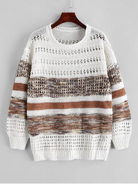 latest Contrast Open Knit Crew Neck Sweater - BROWN 2XL