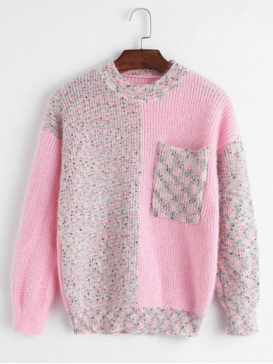 sale Heathered Crew Neck Front Pocket Sweater - PINK ONE SIZE