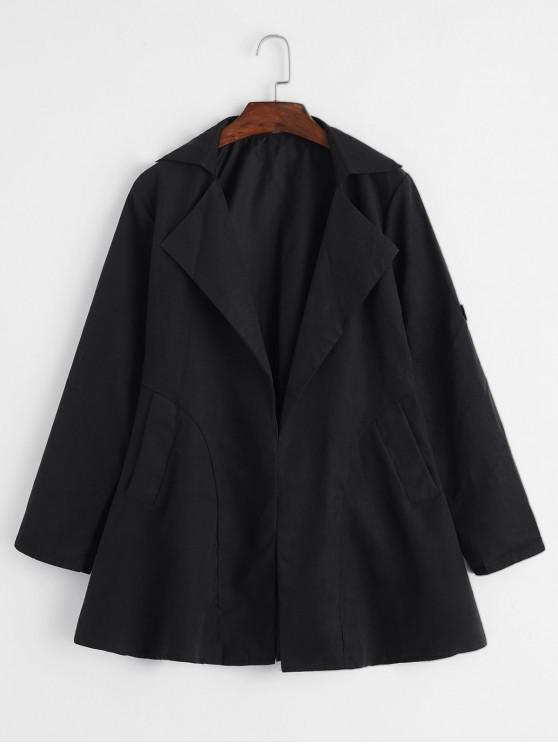 ladies Roll Sleeve Trench Coat - BLACK L