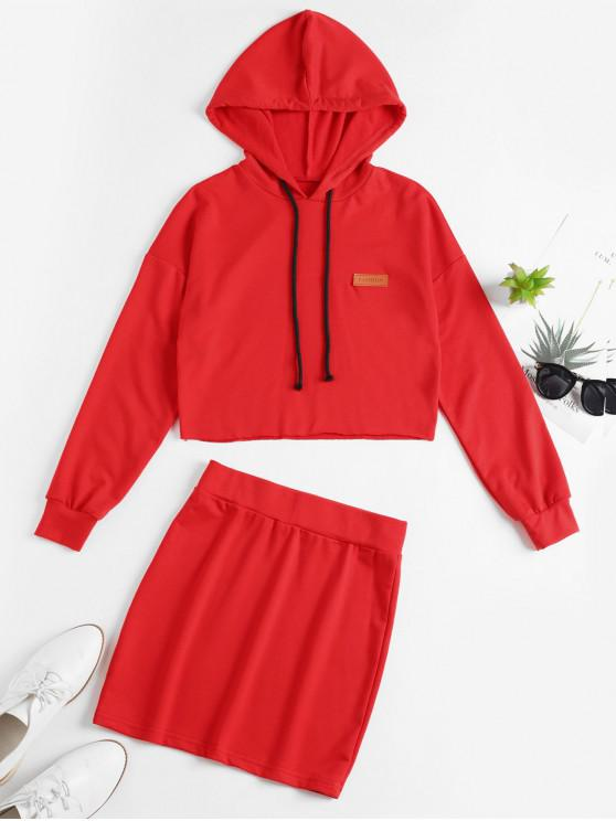 online Drop Shoulder Raw Cut Hooded Two Piece Set - RED L