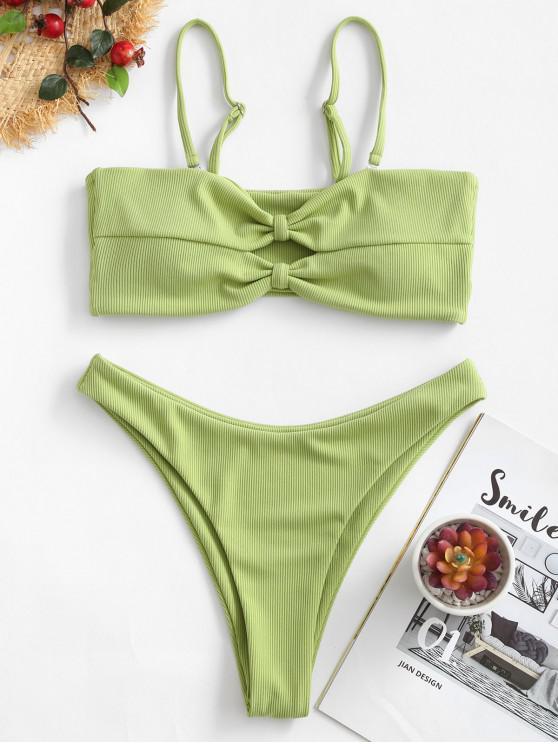 ZAFUL pețiol Knit Cut ridicat costume de baie bikini - Pistachio verde S