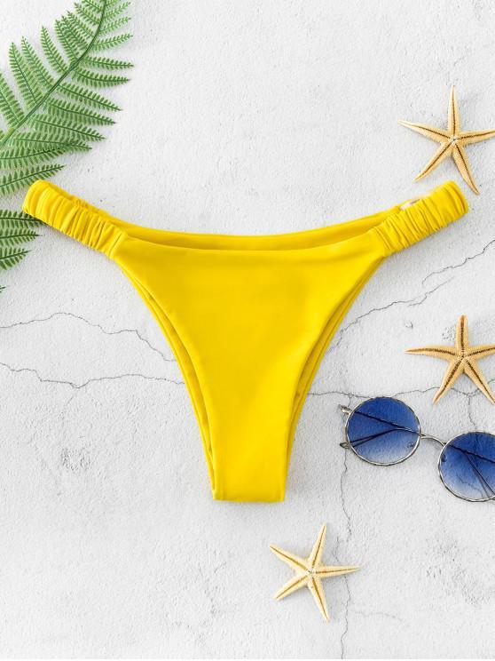 ZAFUL Fețe elastice Bikini Bottom scăzut Waisted - Galben deschis M