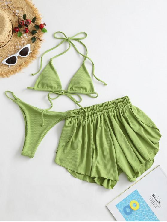affordable ZAFUL Ribbed Three Piece Halter Tie Bikini Swimsuit - PISTACHIO GREEN S
