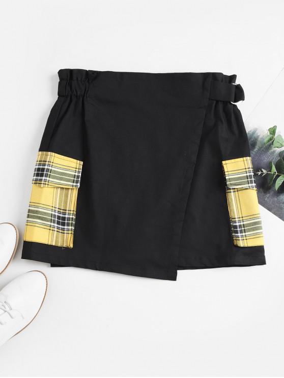 fancy Overlap Plaid Flap Pockets Mini Skirt - BLACK XL