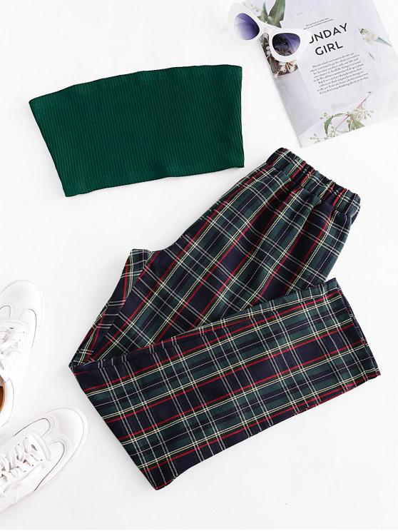 best Solid Strapless Top and Plaid Pants Set - MULTI S