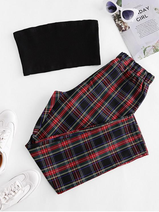 outfit Solid Strapless Top and Plaid Pants Set - MULTI-B S