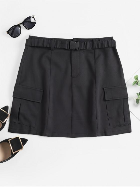 fancy Flap Pockets Buckle Belt Mini Skirt - BLACK XL