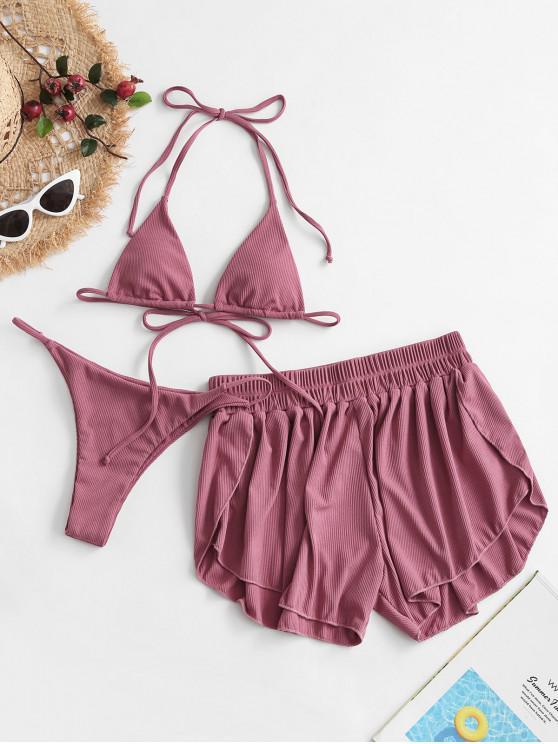 chic ZAFUL Ribbed Three Piece Halter Tie Bikini Swimsuit - PALE VIOLET RED M