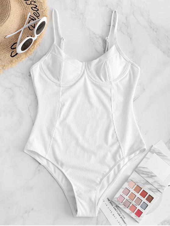 ZAFUL Ribbed Underwire Princesa Seam uma peça Swimsuit - Branco S