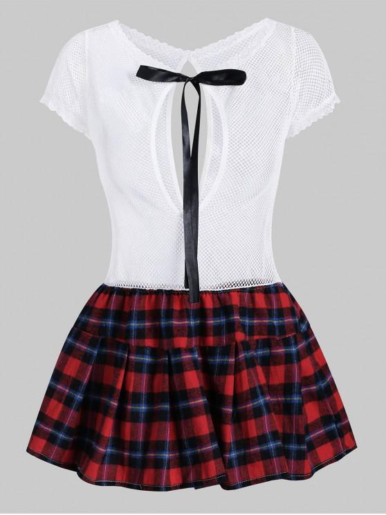 fashion Plaid Knotted Cut Out Fishnet Lingerie Dress - WHITE M
