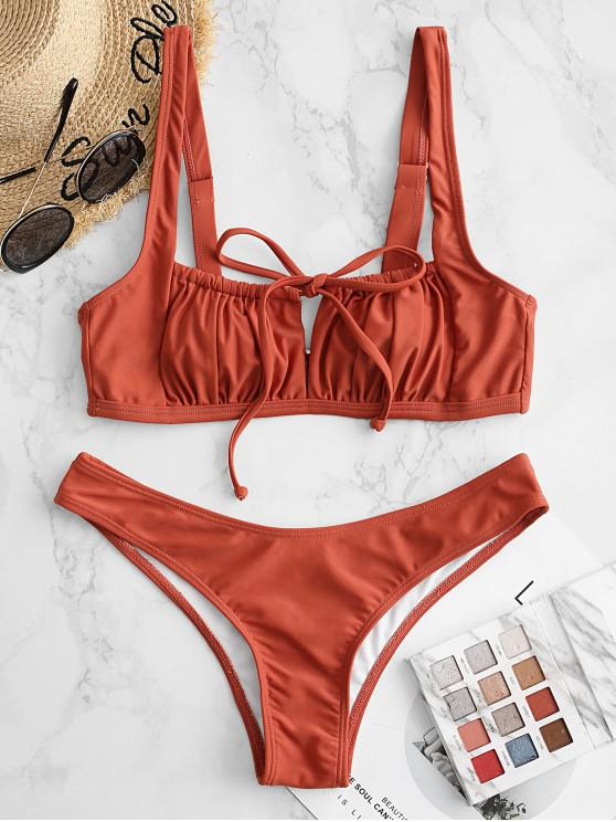 women ZAFUL Square Tie Ruched Bikini Swimsuit - CHOCOLATE M