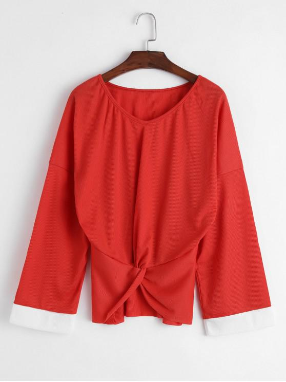 trendy Ribbed Twisted Raw Cut Sweater - BEAN RED XL