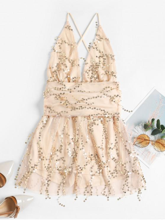 latest Sparkly Sequined Plunging Crisscross Mini Dress - CHAMPAGNE L