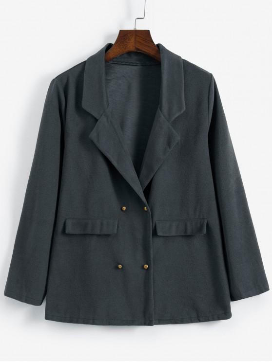 women's Double Breasted Notch Lapel Tunic Coat - DARK GRAY L