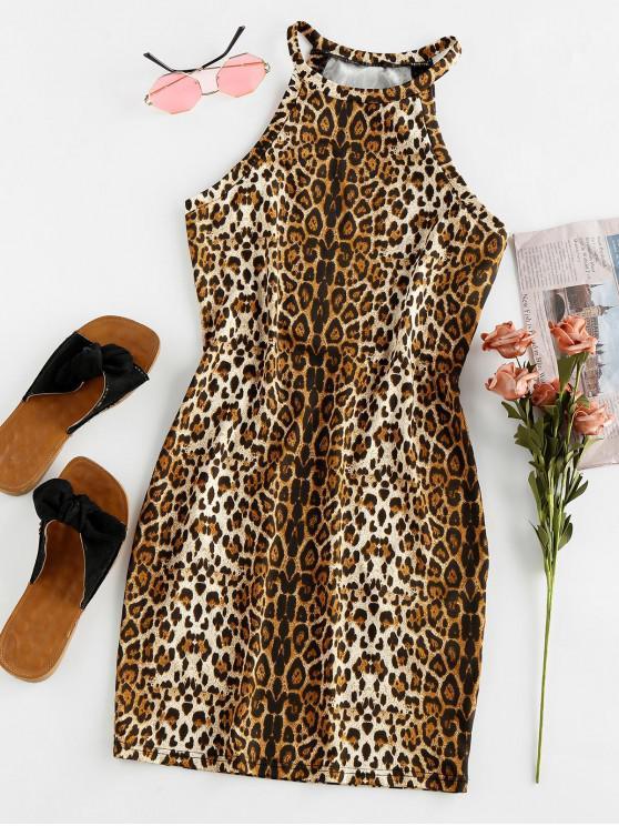 shops ZAFUL Leopard Animal Print Mini Bodycon Dress - MULTI M