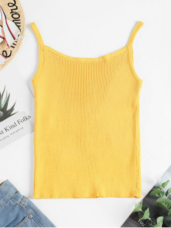 best Ribbed Knit Cami Top - YELLOW ONE SIZE