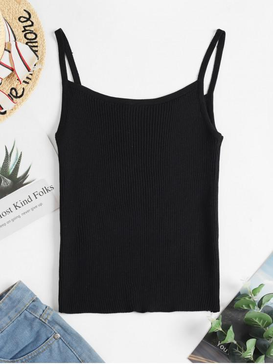 hot Ribbed Knit Cami Top - BLACK ONE SIZE