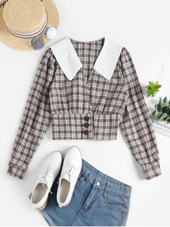 best Buttoned Plaid Crop Blouse - COFFEE ONE SIZE