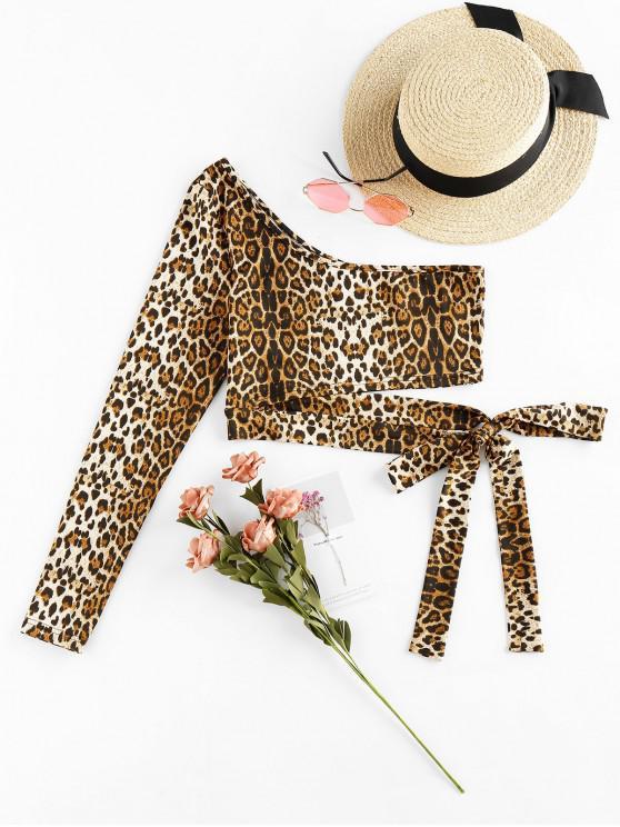 women ZAFUL Leopard One Shoulder Knot Crop Tee - MULTI XL