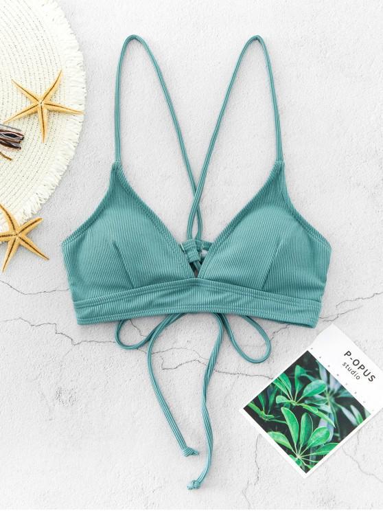 shop ZAFUL Ribbed Lace Up Padded Bikini Bra - MEDIUM AQUAMARINE S