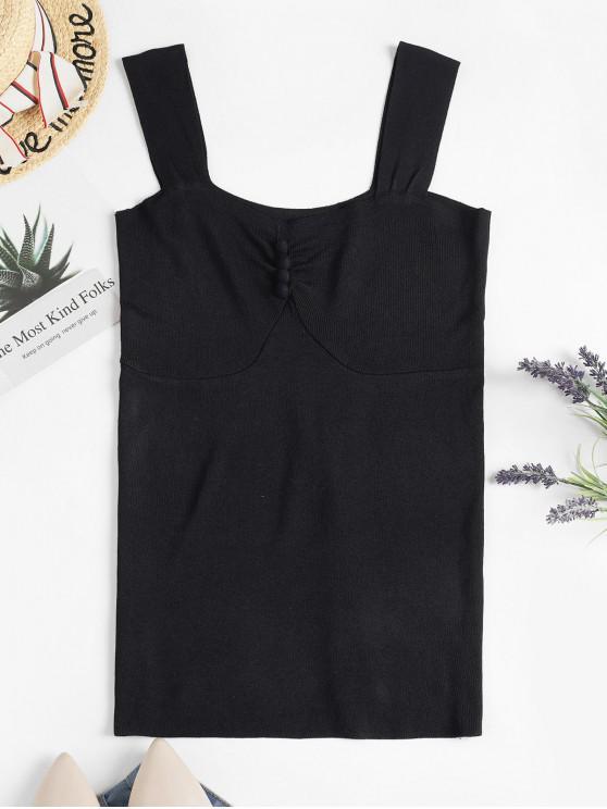 unique Buttoned Knit Tank Top - BLACK 2XL