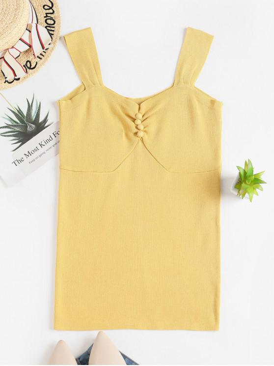 sale Buttoned Knit Tank Top - YELLOW 2XL