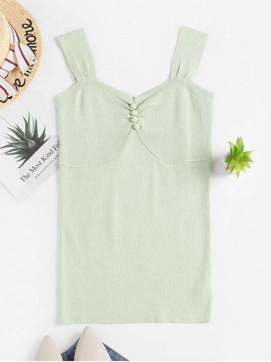 outfit Buttoned Knit Tank Top - GREEN 3XL