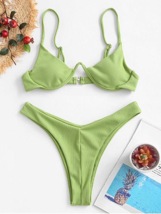 ZAFUL costine taglio alto con ferretto Bikini Swimsuit - Verde Pistacchio L