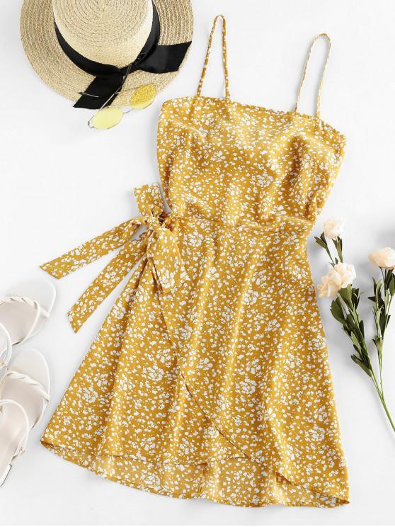ZAFUL Verknotetes Ditsy Blumen Cami Sommerkleid mit Überlappung - Multi-B S