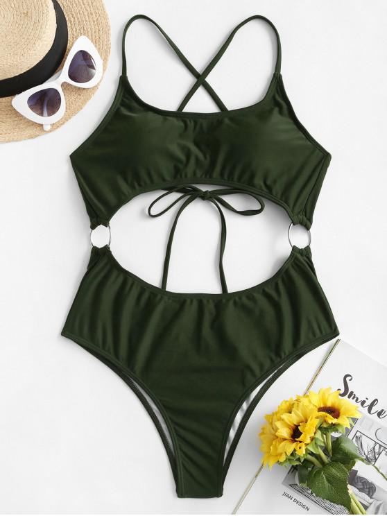 latest ZAFUL O Ring Criss Cross Monokini Swimsuit - DARK FOREST GREEN S