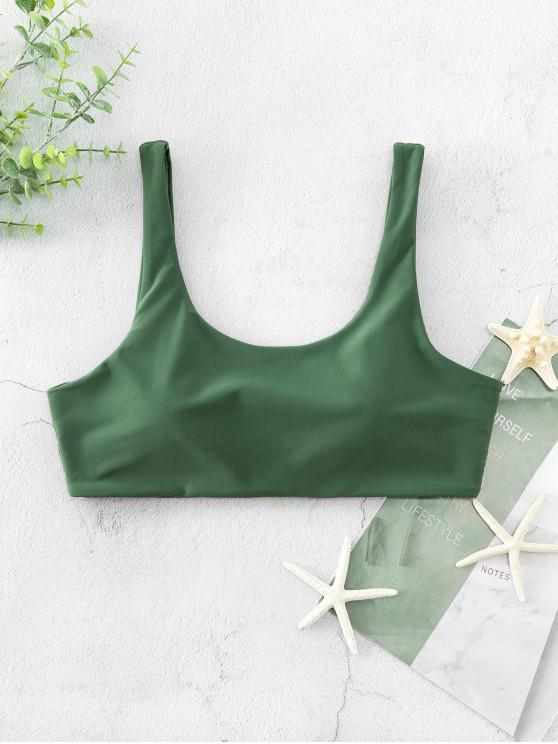 shop ZAFUL Scoop Neck Padded Tank Bikini Top - HAZEL GREEN L