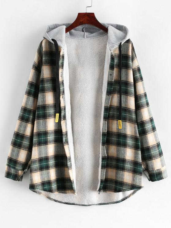 Manteau à Capuche Boutonné à Carreaux à Ourlet Courbe - Multi-C XL
