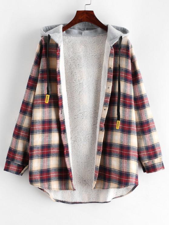 Manteau à Capuche Boutonné à Carreaux à Ourlet Courbe - Multi-A XL