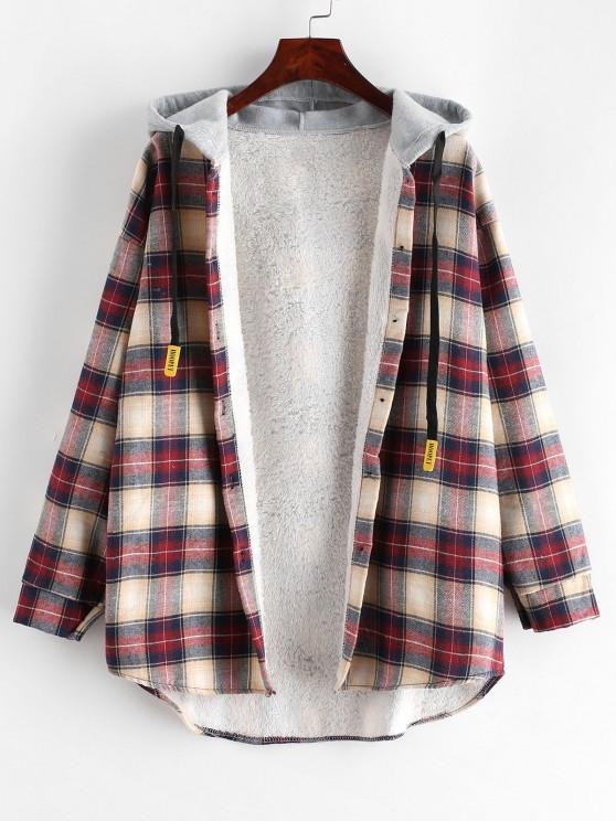 fancy Plaid Buttoned Curved Hem Hooded Coat - MULTI-A L