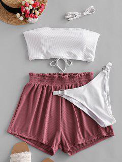ZAFUL Ribbed Lace-up Bandeau Three Piece Swimsuit - White M