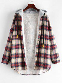 Plaid Buttoned Curved Hem Hooded Coat - Multi-a M