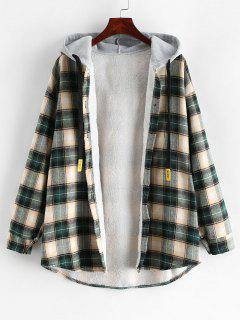 Plaid Buttoned Curved Hem Hooded Coat - Multi-c L
