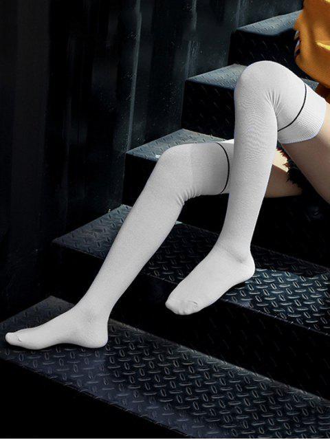 fancy Brief Stripe Over Knee Length Socks - WHITE  Mobile